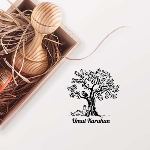 - Ağacın Altında Kitap Okuyan Adam Mührü(KM-0712)