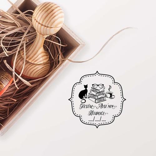 Çerçeveli Kediseverin Kitaplığı Mührü - Thumbnail