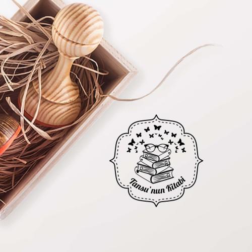 - Çerçeveli Kitap Üzerinde Kelebekler Mührü (KM-0110)