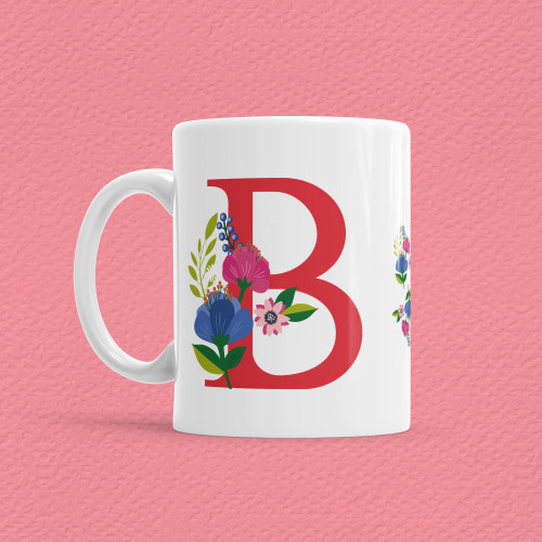 - Çiçekli Harf Bardak - B