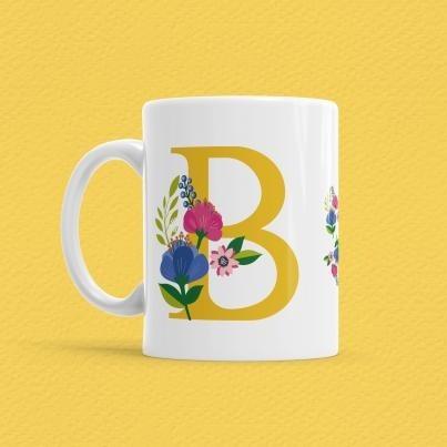 Çiçekli Harf Bardak - B - Thumbnail