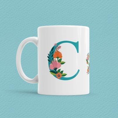 Çiçekli Harf Bardak - C - Thumbnail