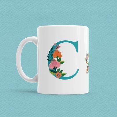 Çiçekli Harf Bardak - C