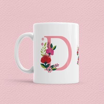 Çiçekli Harf Bardak - D - Thumbnail