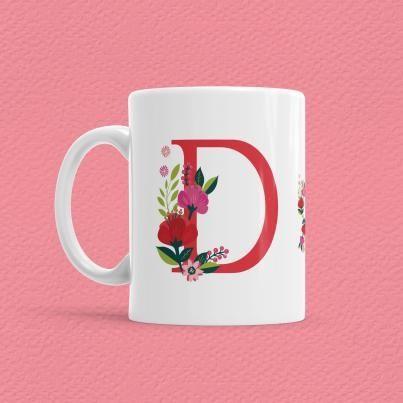 Çiçekli Harf Bardak - D