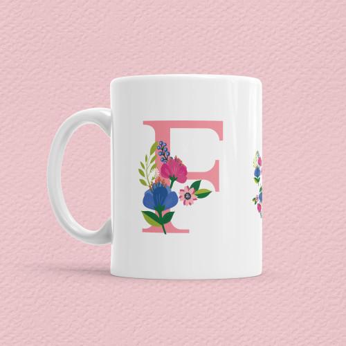 - Çiçekli Harf Bardak - F