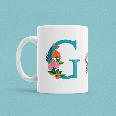 Çiçekli Harf Bardak - G - Thumbnail