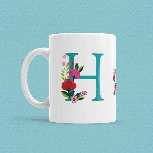 - Çiçekli Harf Bardak - H