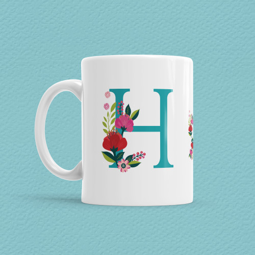 Çiçekli Harf Bardak - H - Thumbnail