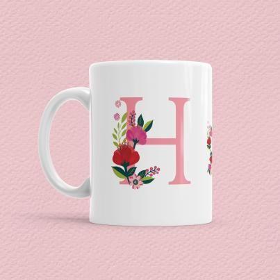 Çiçekli Harf Bardak - H