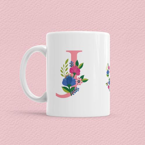 Çiçekli Harf Bardak - J - Thumbnail