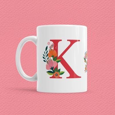 Çiçekli Harf Bardak - K - Thumbnail