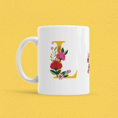 Çiçekli Harf Bardak - L