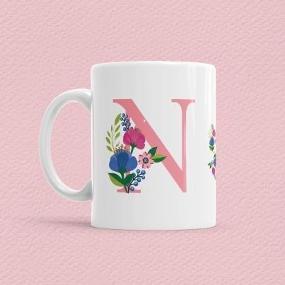 Çiçekli Harf Bardak - N - Thumbnail
