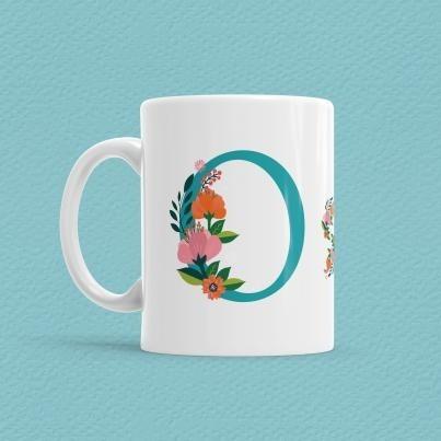 Çiçekli Harf Bardak - O - Thumbnail