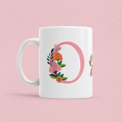Çiçekli Harf Bardak - O