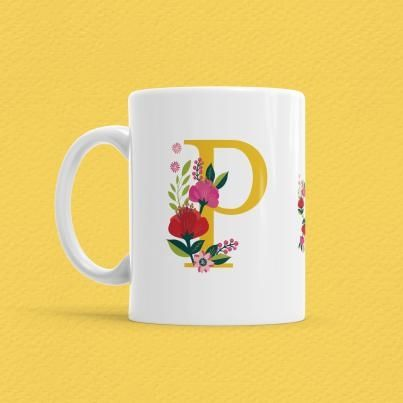 Çiçekli Harf Bardak - P