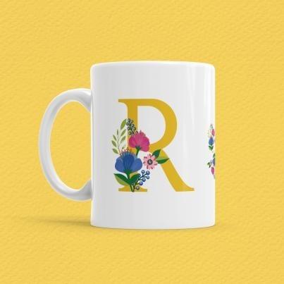 Çiçekli Harf Bardak - R - Thumbnail