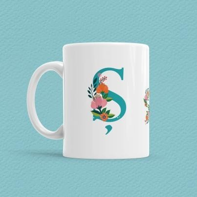 Çiçekli Harf Bardak - Ş - Thumbnail
