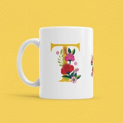 Çiçekli Harf Bardak - T - Thumbnail