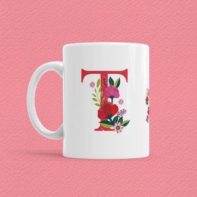 Çiçekli Harf Bardak - T