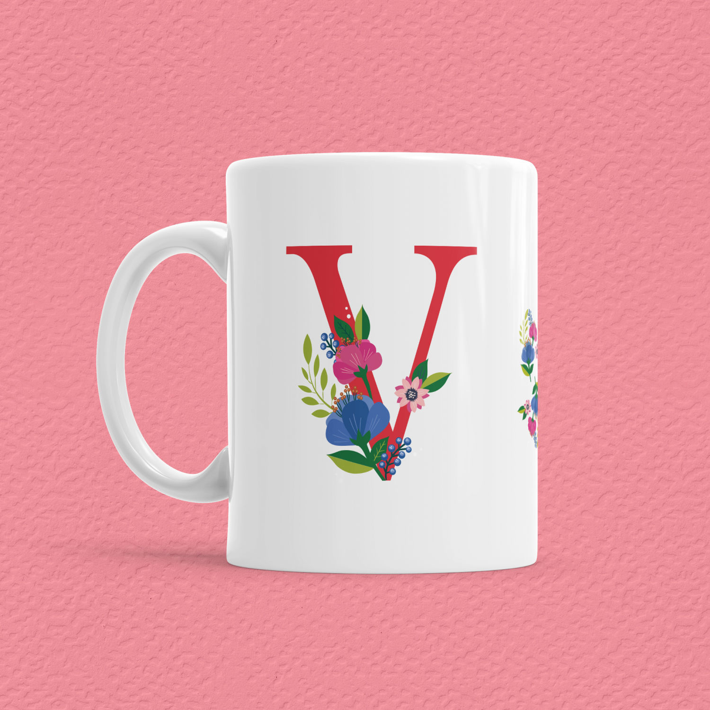 Çiçekli Harf Bardak - V