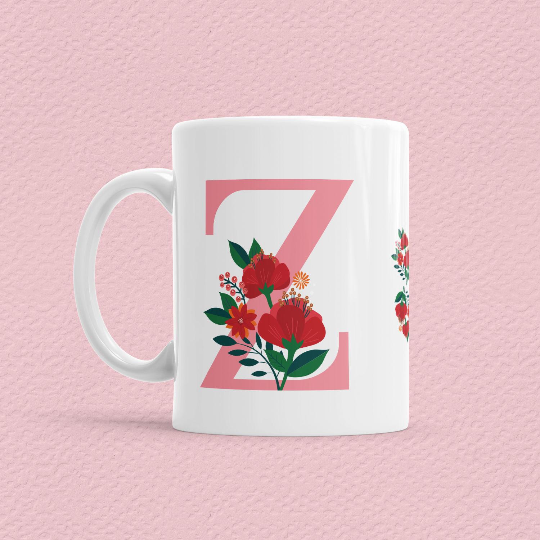 Çiçekli Harf Bardak - Z