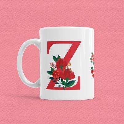 Çiçekli Harf Bardak - Z - Thumbnail