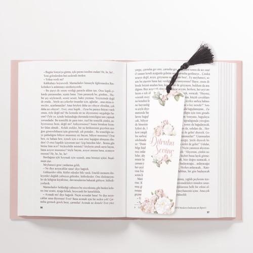 Çiçekli Kişiye Özel Kitap Ayracı - Thumbnail