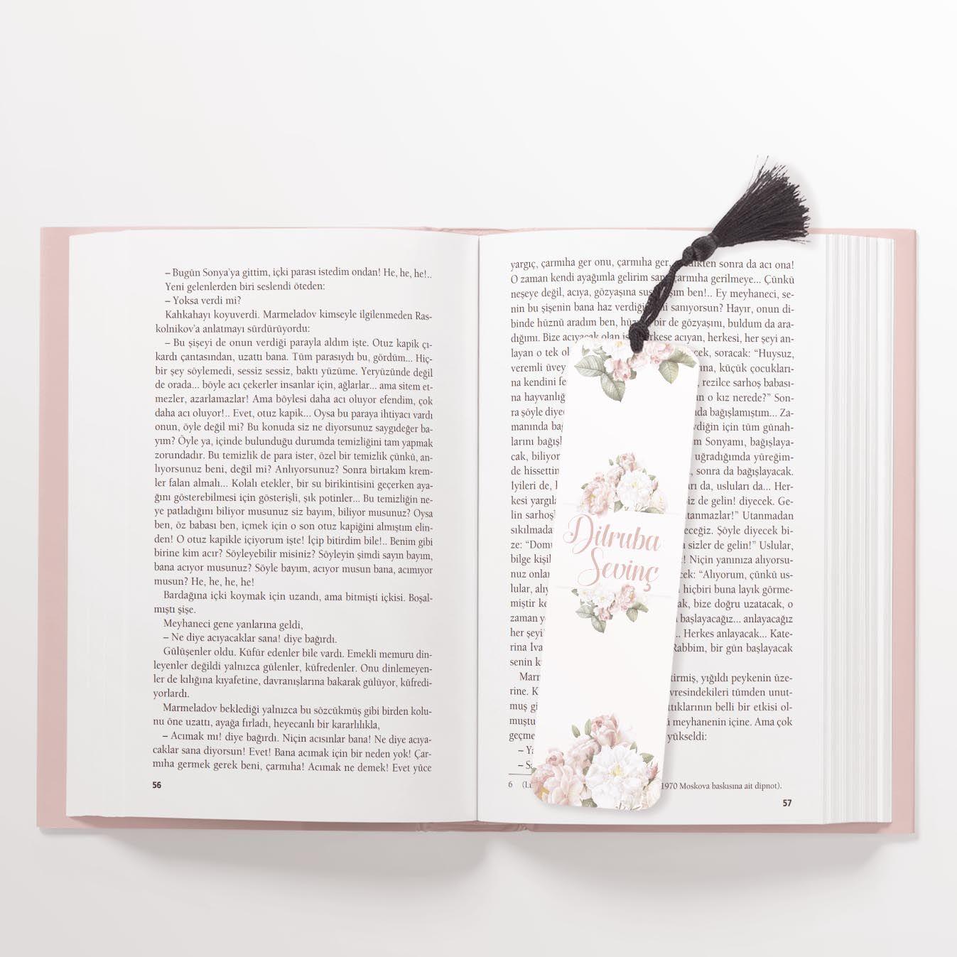 Çiçekli Kişiye Özel Kitap Ayracı