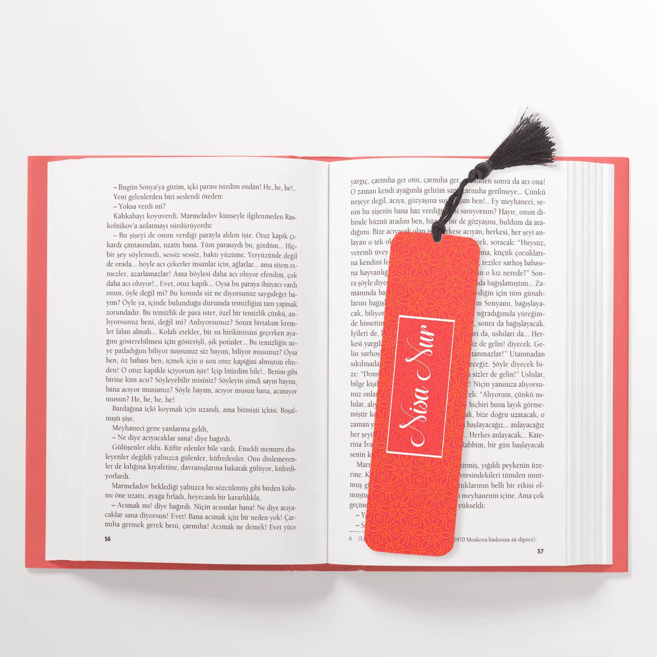 Kırmızı İsimli Kitap Ayracı