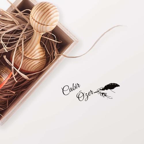 - Kuş Tüylü Kalem Yazısı Mührü (KM-0232)