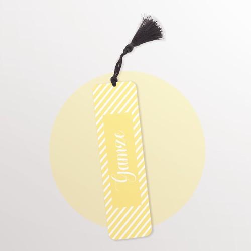 Sarı Desenli Kişiye Özel Kitap Ayracı - Thumbnail