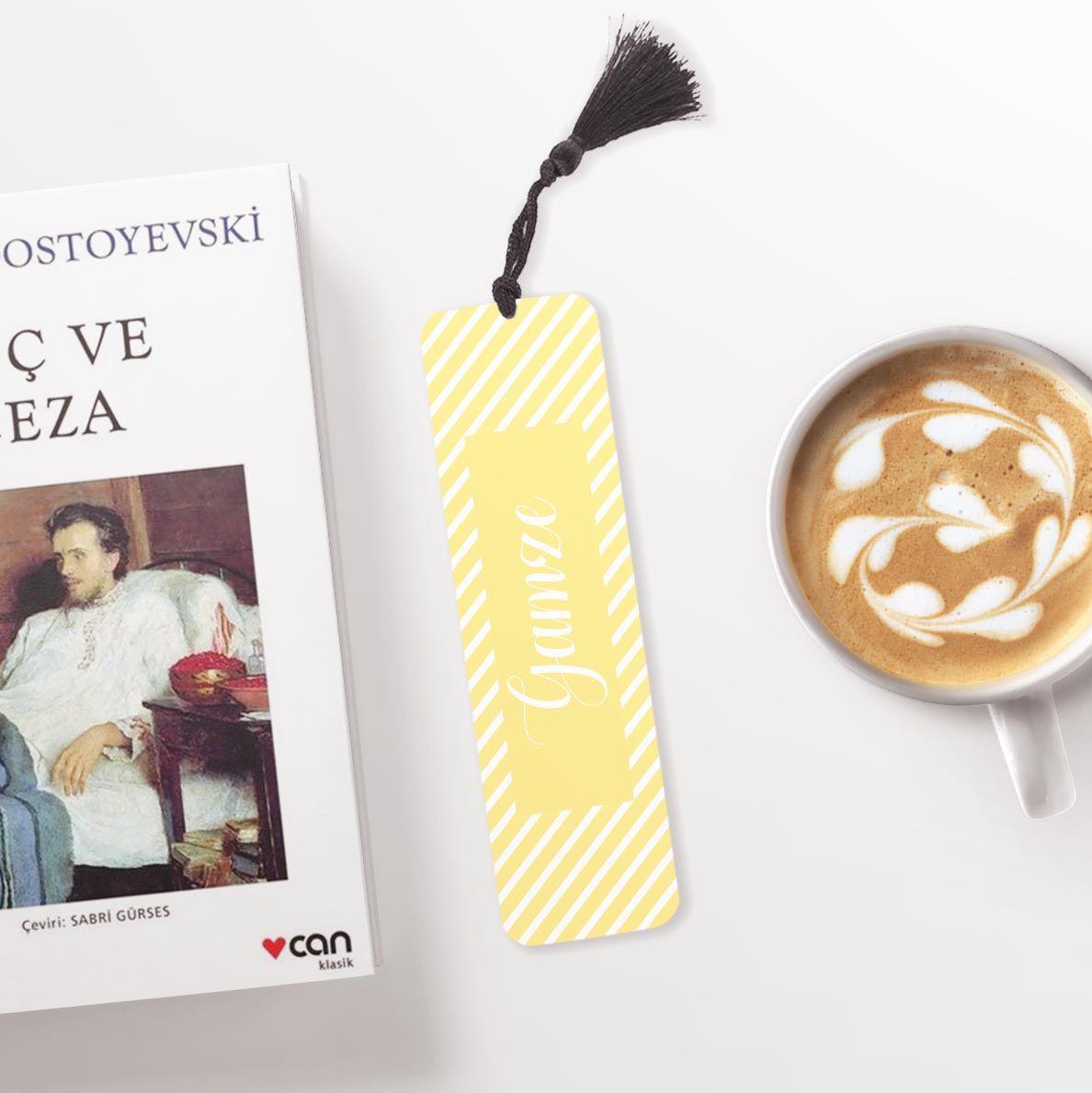 Sarı Desenli Kişiye Özel Kitap Ayracı