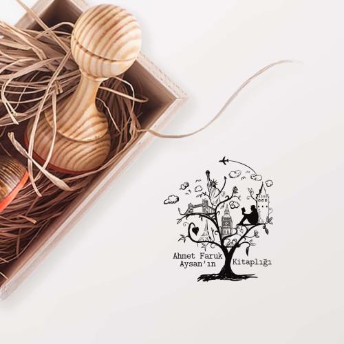 Ülkeler Sembollü Ağaç Mührü - Thumbnail