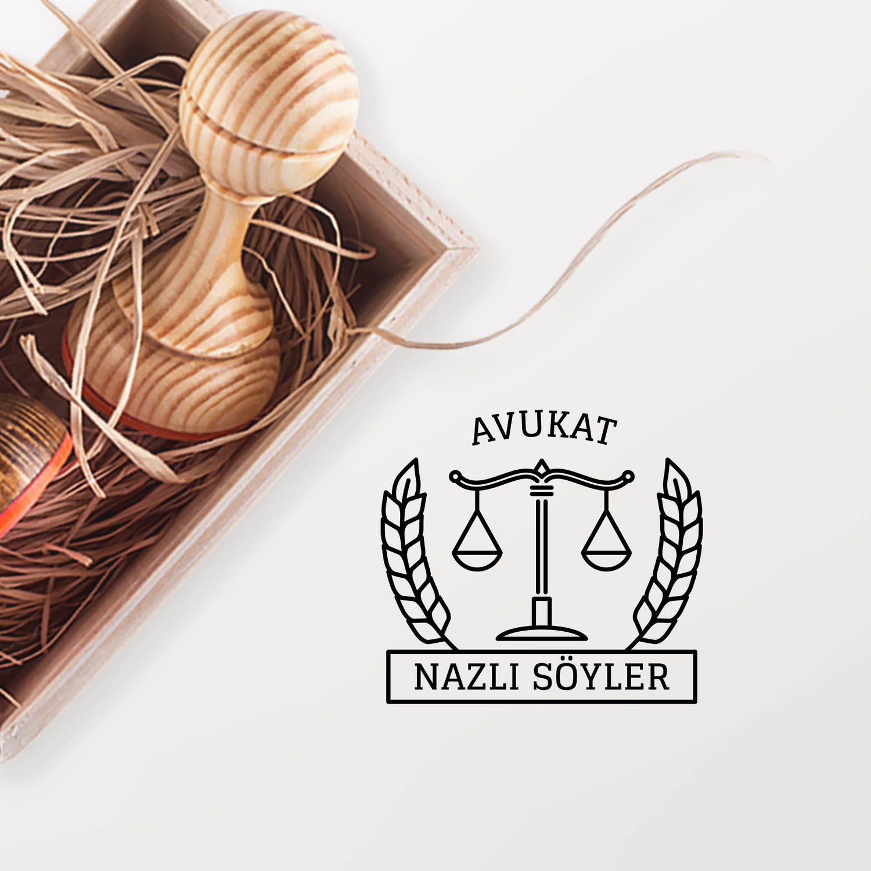 Yaprak & Adalet Terazili Avukat Mührü