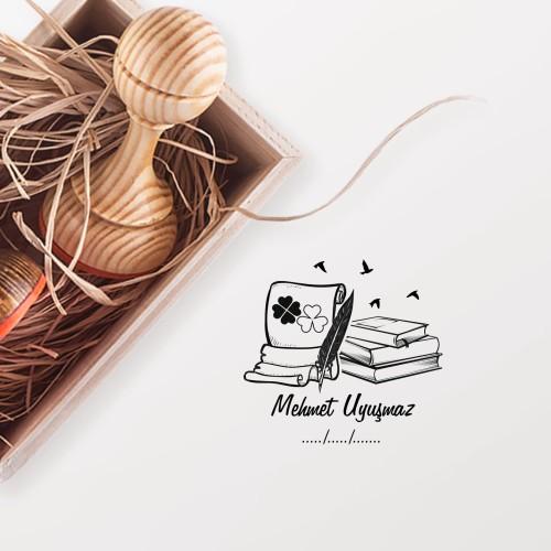 - Yonca Desenli Yazı ve Kitaplar Mührü (KM-0787)